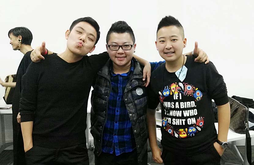 Aries Liu (middle), Mr. C (right), and a friend pose for a photo at the national trans summit in Ningbo, Zhejiang province, Dec. 10, 2016. Courtesy of Mr. C