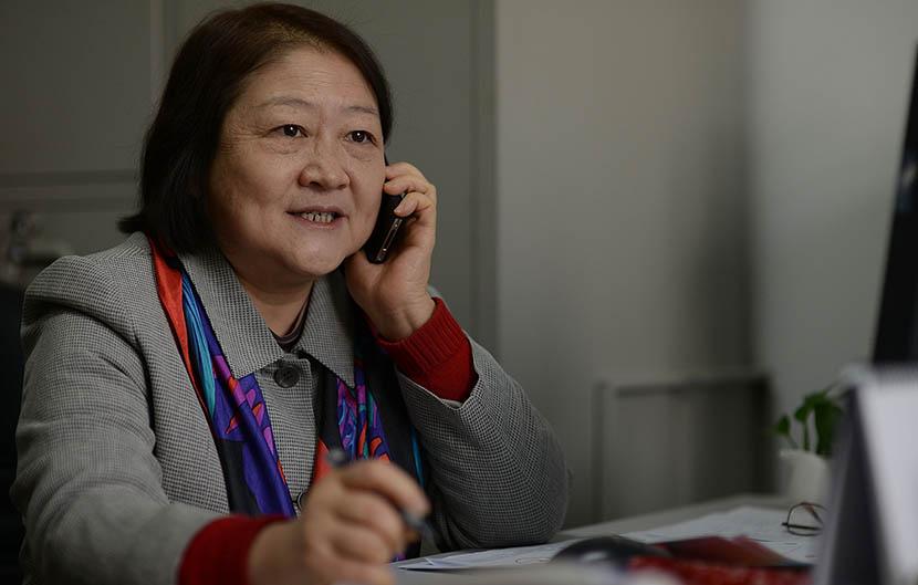 Sun Xiaomei in her office in Beijing, Dec.16, 2013.  Huang Liang/VCG